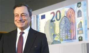 Mario Draghi presenta el nuevo billete de 20 euros