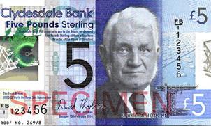 Clydesdale Bank introduce por primera vez en Gran Bretaña billetes polímeros