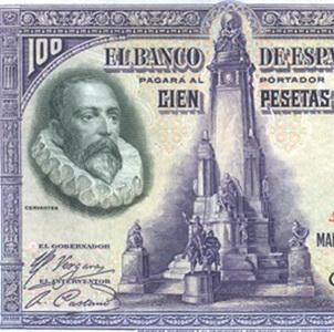 300 Años de Cervantes y su Quijote: El Billete de 100 pesetas de 1928