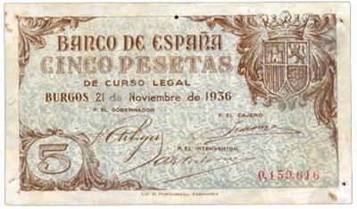 España Junta de Defensa de Burgos 10 pesetas 1936 vs. 5 pesetas 1936