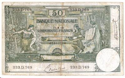 Bélgica, 50 Francos 1919