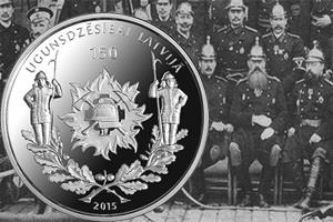 """""""150 años de lucha contra el fuego en Letonia"""" en una moneda de 5 euros plata"""
