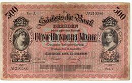 Alemania 500 marcos Sachsische Bank 1890 vs. 1922