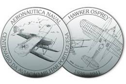 """Colección de medallas en plata """"Diez décadas de la Fuerza Aérea"""" en Portugal"""