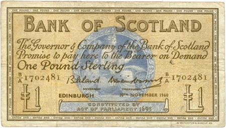 Emisiones del Bank of Scotland de 1 Libra de 1947 vs. 1960 vs. 1964