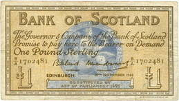 Emisiones del Bank of Scotland de 1 Libra de 1947 vs. 1960 vs. 1964