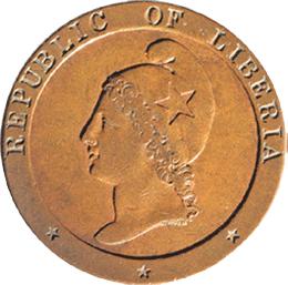 Los primeros centavos de Liberia emitidos por la Sociedad Americana de Colonización