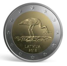2 euros de Letonia para la cigüeña y su nido