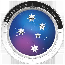 Moneda de plata curva para reproducir el cielo australiano