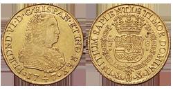 Fernando VI, Méjico. 8 escudos. 1747. MF. Cy10841. EBC-/EBC+, restos de brillo original en anv. y casi todo en rev. Buen rev. con todos los detalles. Muy escasa. A subasta en 16.000 euros