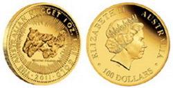 """25 Aniversario del bullion australiano """"Gold Nugget"""""""