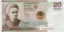 Billete conmemorativo de 20 zloty dedicado a Madame Curie