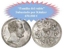 """Precio récord en una subasta de Künker: 650.000 euros por la """"Familia del rublo"""""""