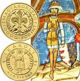 Primer florín de oro del rey Carlos I de Hungría