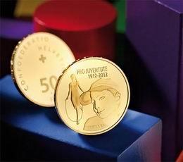 """50 francos oro para la fundación suiza """"Pro Juventute"""""""