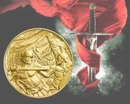 """Medallones en oro y plata """"Obra Maestra 2012"""" dedicados a la """"Leyenda de Arturo"""""""