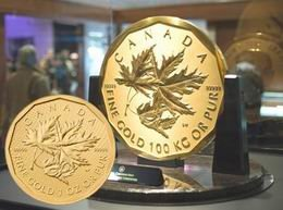 "Onza de oro canadiense conmemorativa del ""Million Dollar Coin"""