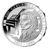 10 euros plata para Franz Liszt