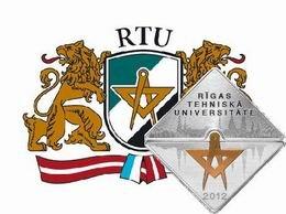 150 Aniversario de la Universidad Técnica de Riga en plata geométrica