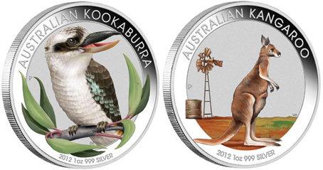 Kookaburra Y Kanguro En Una Onza De Plata A Colores