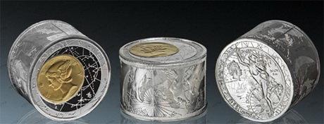 ¡Gran innovación tecnológica!  Una moneda cilíndrica en 6 onzas de plata pura
