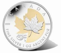 25 Aniversario del Maple Leaf de plata