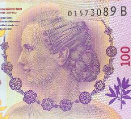 Serie B del billete de 100 pesos dedicado a Eva Duarte de Perón