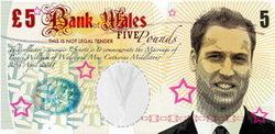 """""""Billete"""" de 5 libras para el príncipe Guillermo de Gales"""