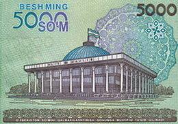 La Asamblea Nacional Oliy Majlis en el nuevo billete de 5.000 som