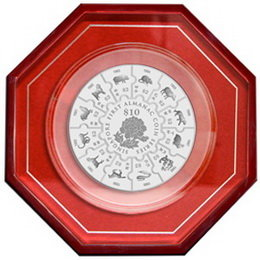 Moneda almanaque lunar de Singapur en formato puzle