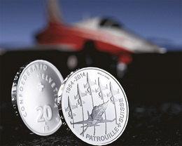 """Le """"Patrouille Suisse"""" en 20 francos de plata"""