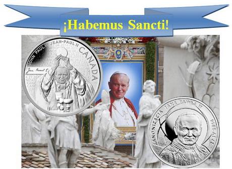 Canonización del Papa Juan Pablo II en monedas de plata de Canadá y Polonia