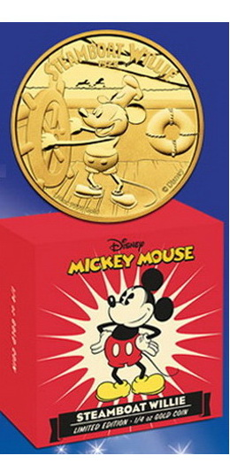 """Steamboat Willie"", protagonizada por Mickey Mouse, en monedas de Niue"