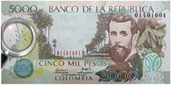 Billete de 5.000 pesos con sistema braille en Colombia