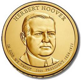 """Herbert Hoover en la Serie de """"Monedas Presidenciales"""" de 1 dólar"""