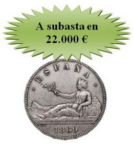 Hoy sale a puja el espectacular duro Gobierno Provisional en la XIV Subasta online de Numismática Pliego