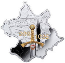 El mapa de Polonia en 1 dólar de plata de Niué