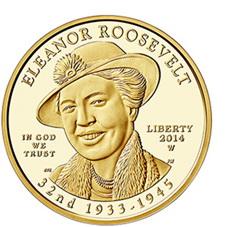 """Serie """"Primeras Damas"""": Eleanor Roosevelt en 10 dólares oro"""