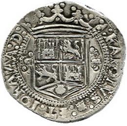 Espectacular 8 Reales de Juana y Carlos, México, 1538 subastado por Daniel F. Sedwick