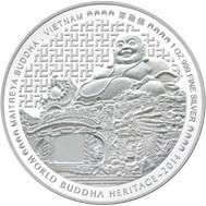 Maitreya Buda de Vietnam en 1 onza coloreada de Bután
