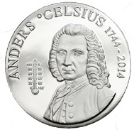 La temperatura de Anders Celsius en 5 dólares plata de las Islas Cook