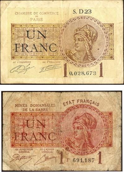 francia 1 franco 1920 chambre de commerce de par s vs 1 franco 1919 mines domaniales de la. Black Bedroom Furniture Sets. Home Design Ideas