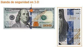 796d7d98b30e7 Campana en el tintero  Busque la imagen de una campana dentro de un tintero  de color cobre en el anverso del nuevo billete de 100 dólares.